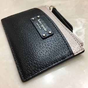 NWT Kate Spade Card & Coin Case Warm Beige/Black